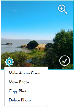 Photo options for individual photos in an album